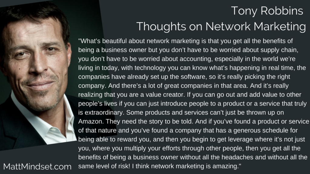 Tony Robbins Thoughts on Network Marketing